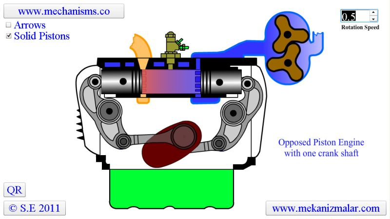 Opposed Piston Engine with one Crank